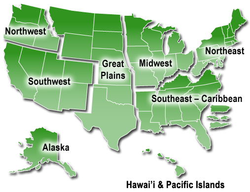US map showing regions from the National Climate Assessment