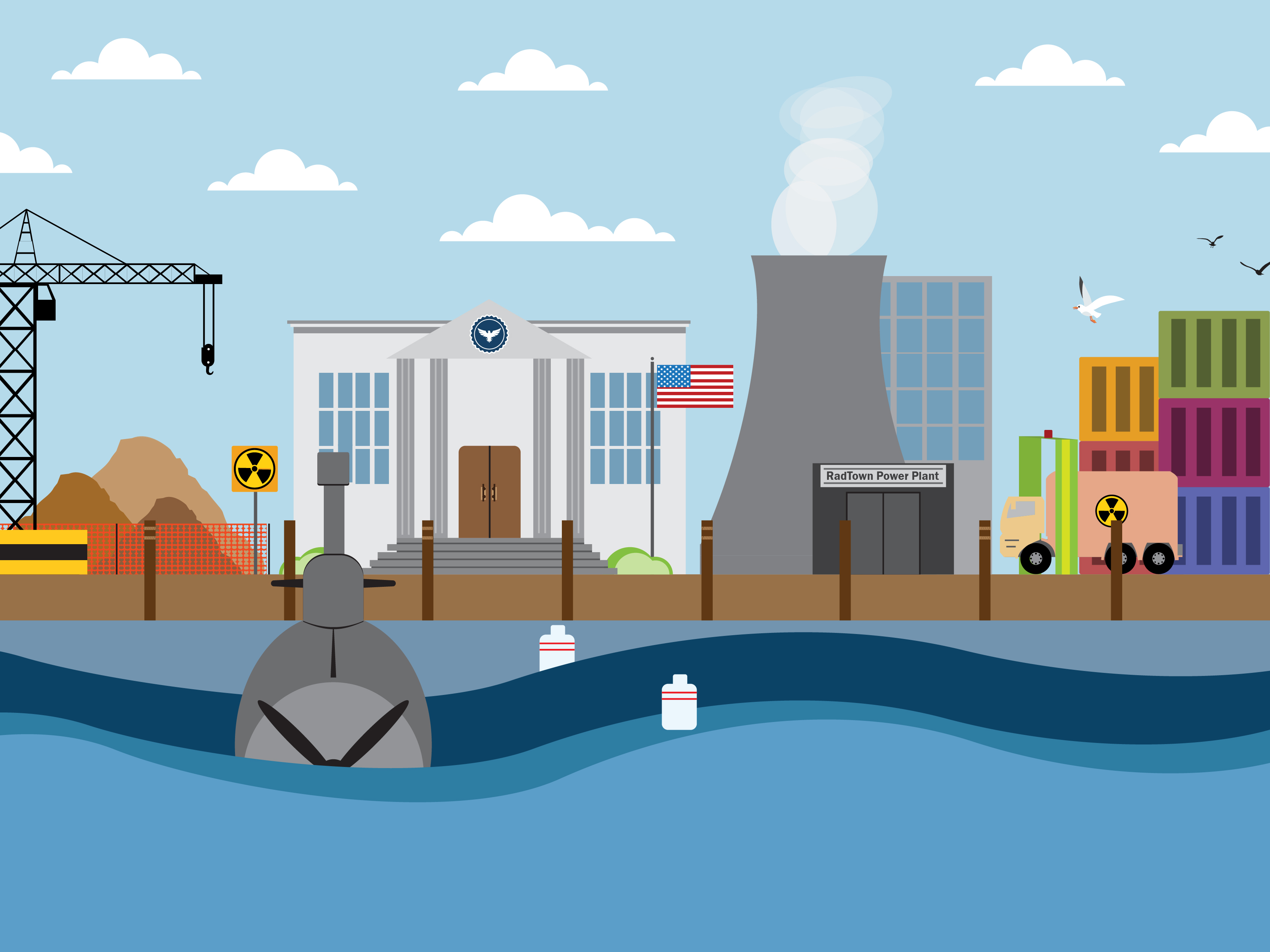 Image of RadTown Waterfront with a military building, cleanup site, truck transporting radioactive material and submarine.