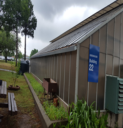Photo of the Greenhouse and Rainwater Harvesting System at the Sam Rayburn Memorial Veterans Center.