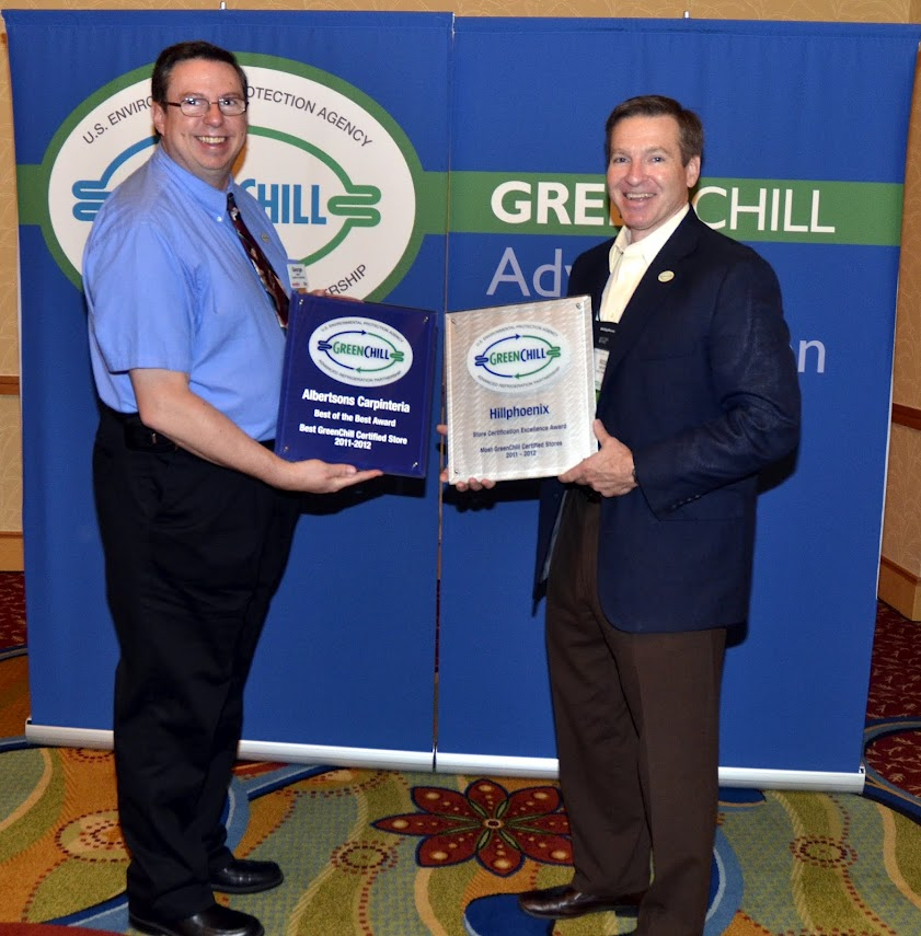 George Ronn from SUPERVALU and Scott Martin from Hillphoenix accept awards from GreenChill for building the best GreenChill-certified store this year in Carpinteria, CA