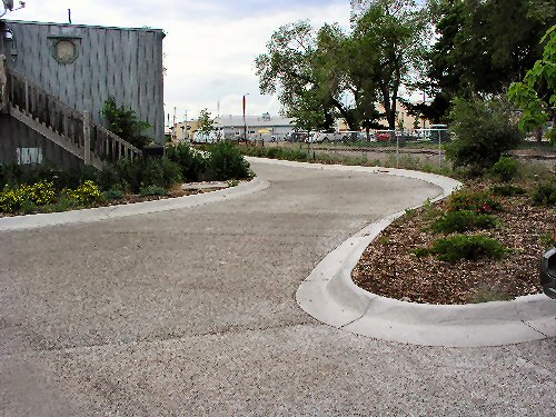 Driveway of pervious pavement.