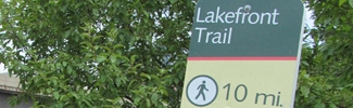 Lakefront trail sign in Lindsay Light Site area