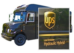UPS Truck with closeup of Low Emission Hydraulic Hybrid on side of vehicle.