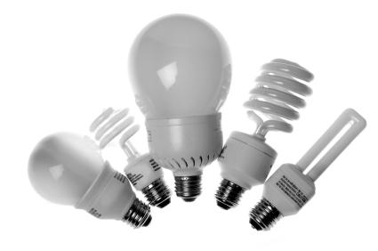 Five different types of compact fluorescent light bulbs