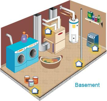 Illustrated cross section of a basement