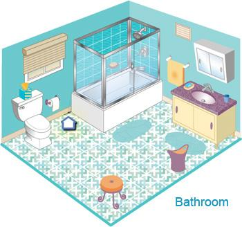 Illustrated cross section of a bathroom