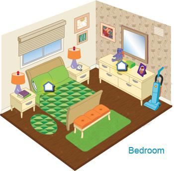 Illustrated cross section of a bedroom