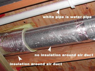 Moisture issue: Condensation on uninsulated air conditioning duct.
