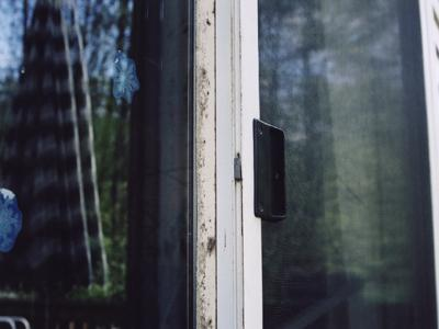 Mold on air seal on sliding glass door.