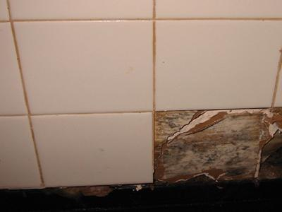 Mold growth under ceramic tiles in a bathroom.