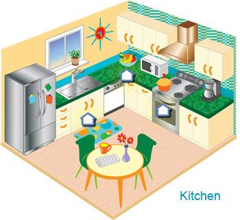 Illustrated cross section of a kitchen
