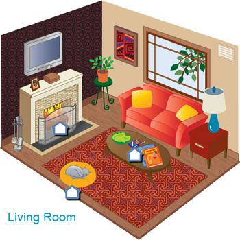 Illustrated cross section of a living room