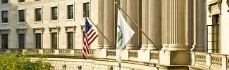 This is a picture of the EPA and the United States flags