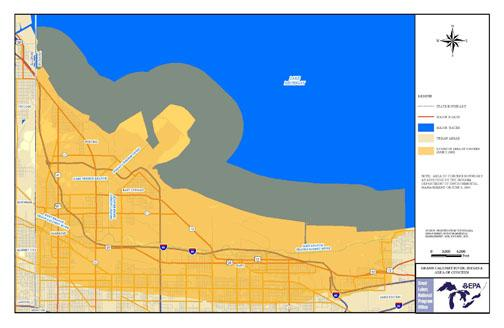 map showing the state approved boundary of the Grand Calumet River AOC
