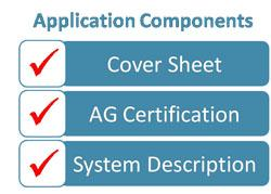 Checklist titled application components, and includes list items cover sheets, AG certification, and system description(s). All list items are checked.