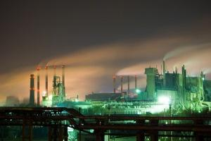 Photo of nuclear power plant at night