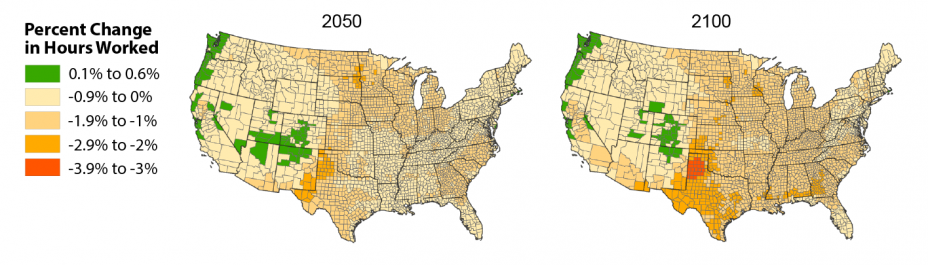 Set of two maps of the U.S. showing the estimated percent change in hours worked from 2005 to 2050 and 2100 under the CIRA Mitigation scenario.