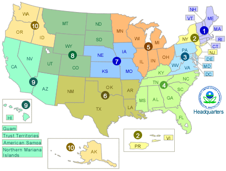 US map showing EPA regions