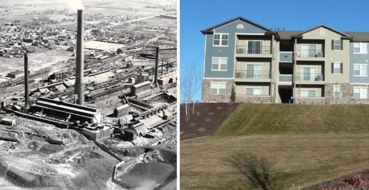 (left) Smelter facilities at the Midvale Slag site, 1941, (right) Apartment complex on site