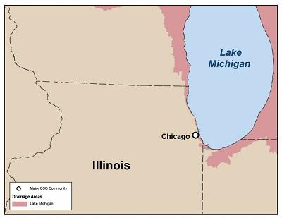 Map of CSO communities in Illinois that drain to the Great Lakes Basin