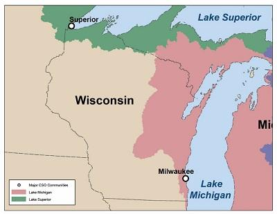 Map of CSO communities in Wisconsin that drain to the Great Lakes Basin