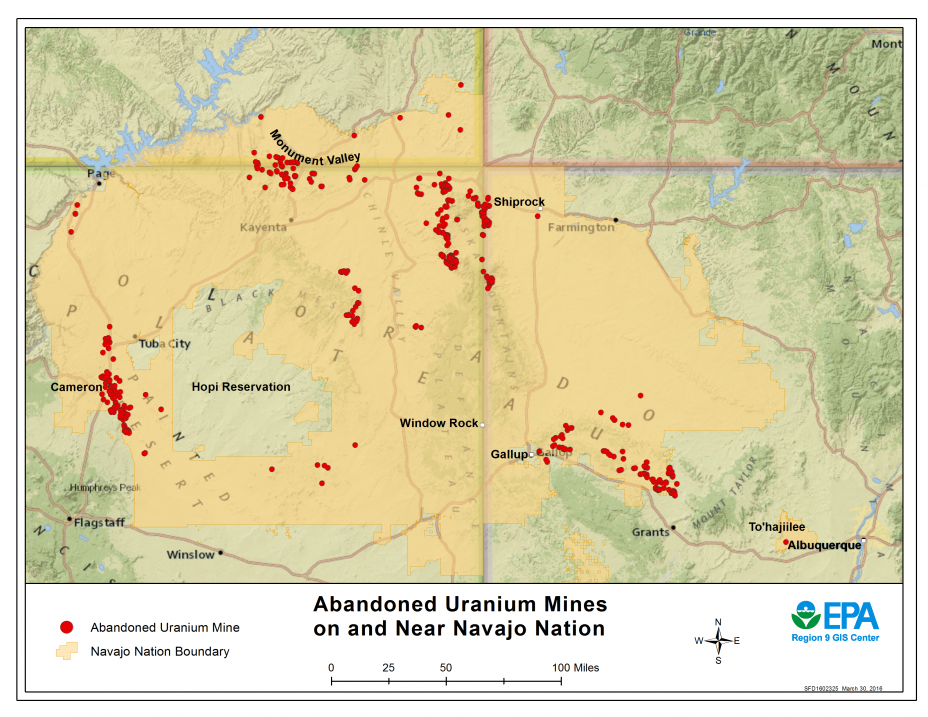 Map of Abandoned Uranium Mines on the Navajo Nation