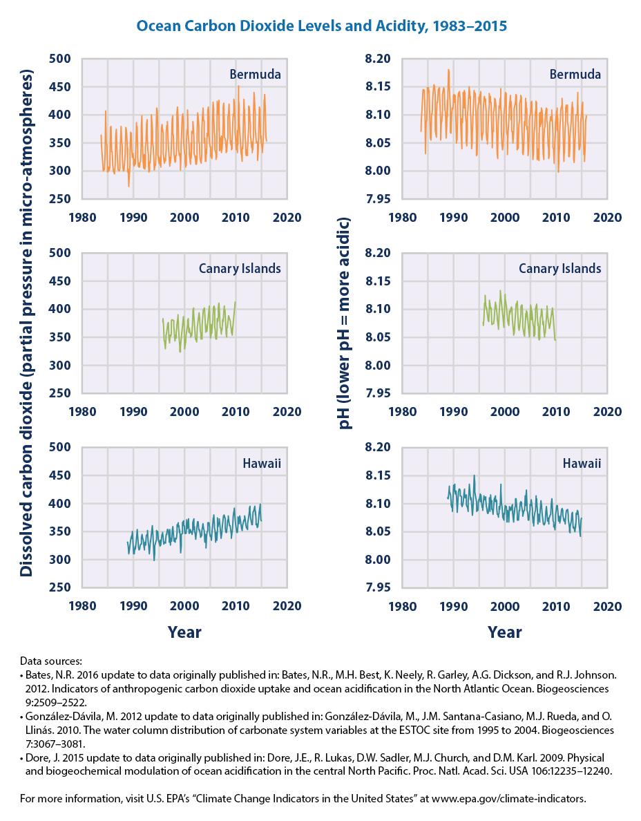 Time series plots of ocean pCO2 and pH for Bermuda, the Canary Islands, and Hawaii from 1983 to 2015