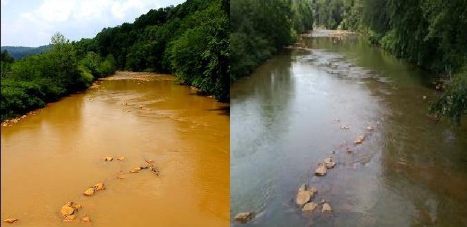 The Little Conemaugh River before and after the cleanup project.