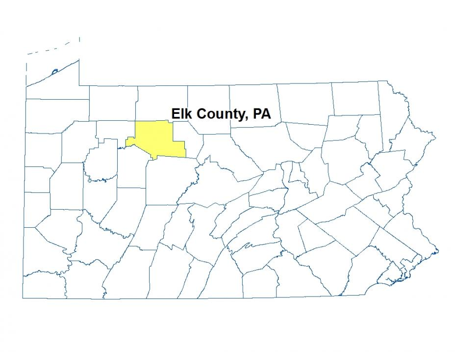 A map of Pennsylvania highlighting the location of Elk County