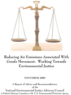 A photograph of the cover of the Reducing Air Emissions Associated with Goods Movement: Working Towards Environmental Justice report.