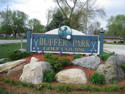 Entrance sign for the 9-hole Buffer Park Golf Course