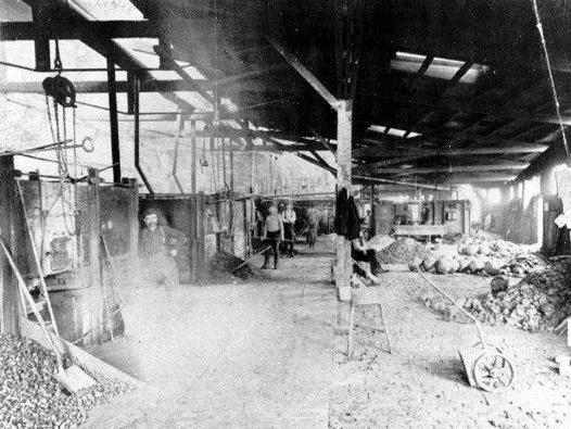 Image of the KCSS facility refining gold, silver, and lead on site in the late ninteenth century.