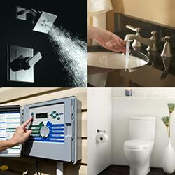 4 images of showerhead, faucet, irrigation controller, and toilet