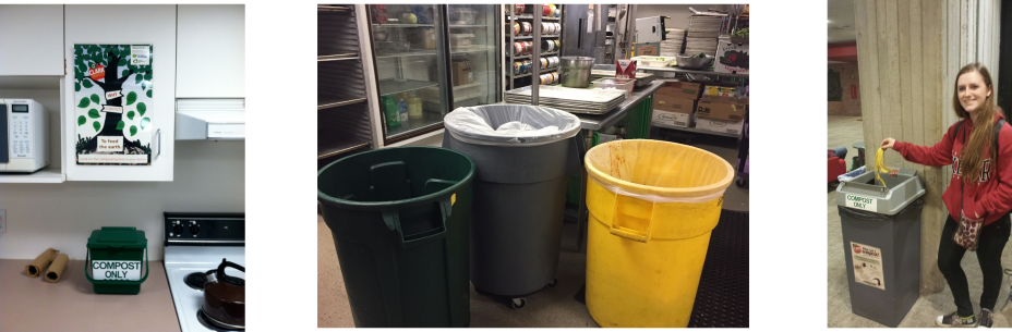 This is a collage of three pictures from Clark University. One picture is of a student throwing a banana into a compost bin. Another photo is of a compost bin sitting on a kitchen counter. The third photo is of three trash bins.