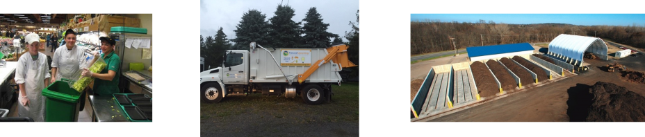 This is a collage of pictures from Wegmans. One photo is of employees composting, one is of a Natural Upcycle truck and the third is of a composting facility.