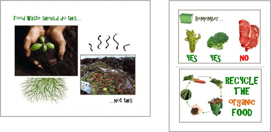 This is a collage of a picture showing what food waste should and should not be and a poster of what food waste can be composted and what cannot.