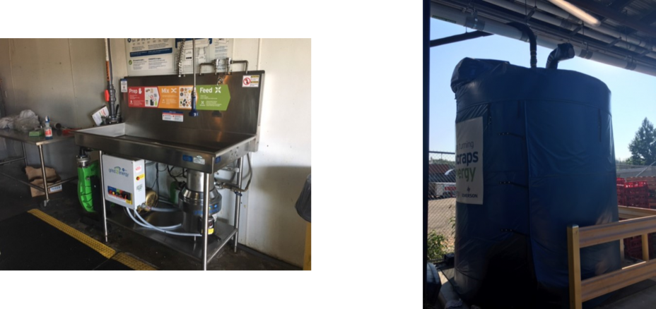 This is two pictures side by side showing the grind 2 energy system beneath a sink in a Gillette Stadium kitchen and the other picture is of a food scraps tank at the stadium.