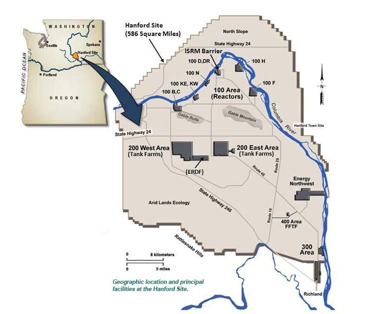Map of Hanford Site Areas