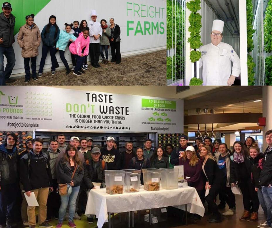 "This is a collage from UMass Dartmouth of a chef, a group of kids in front of a Freight Farms sign,and a group of students in front of a ""Taste Don't Waste"" sign."