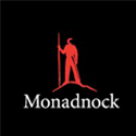 Logo for Monadnock Paper Mills with image of a red person with a walking stick.