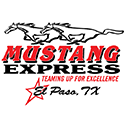 Logo for Mustang Express with a horse running above the words Mustang Express