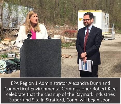 EPA Regional Administrator Alexandra Dunn and Connecticut Environmental Commissioner Robert Klee celebrate that the cleanup of the Raymark Industries Superfund Site in Stratford, Conn. will begin soon.
