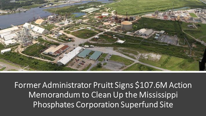 Former Administrator Pruitt Signs $107.6M Action Memorandum to Clean Up the Mississippi Phosphates Corporation Superfund Site