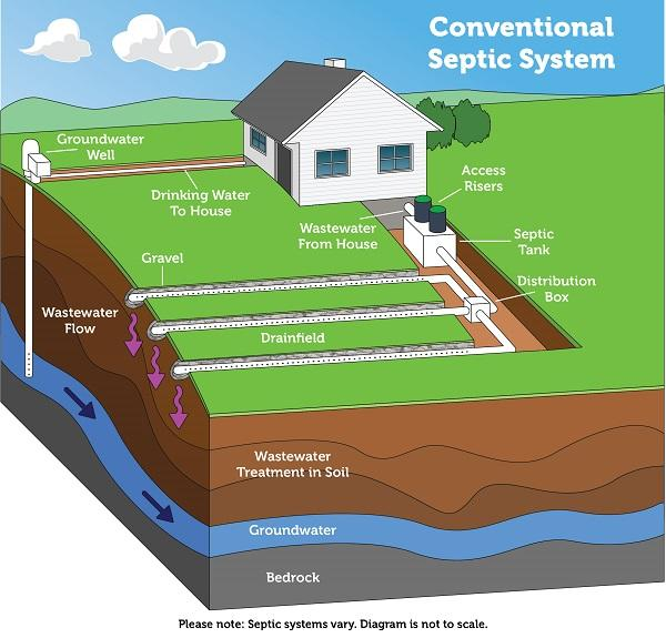 Diagram of conventional septic system