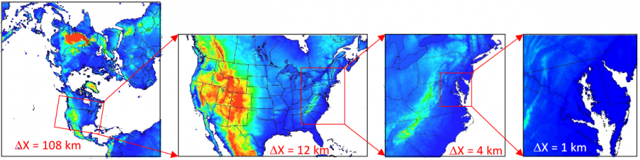 From left to right this figure shows typical US EPA WRF/CMAQ model domains from the 108 km hemispheric scale, 12 km continental United States, regional 4 km and local 1 km over the Washington DC-Baltimore area.