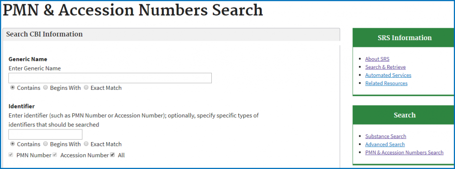 Substance Registry Services (SRS) - Accession Number Search Screen