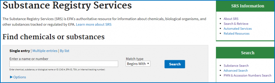 Substance Registry Services (SRS) - CASRN Search Screen