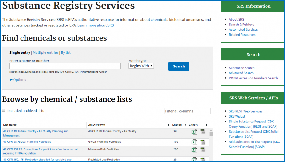 Substance Registry Services (SRS) - Chemical Substances Search Screen