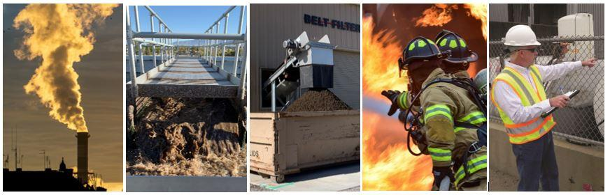 Five photos (Left to Right): Water steam out of a stack, wastewater plant, solids from wastewater treatment plant, two fire fighters fighting a fire, man with hard hat and clipboard inspecting