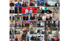 This is a thumbnail image linking to a full size collage of various representatives of companies that received the 2020 SmartWay Excellence Award holding trophies.  This is one of two images.
